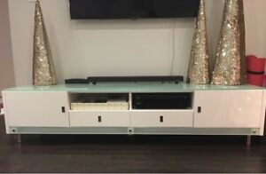 "TV unit console white with drawers and cabinets 80"" long 16"""