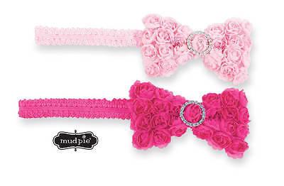 Mud Pie Chiffon Rosette Jeweled Bow Soft Lace Headband - DISCONTINUED