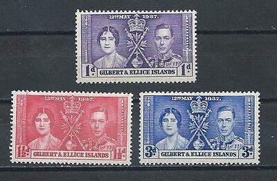 GILBERT & ELLICE ISLANDS , CORONATION , 1937 , SET OF 3 , PERF , MNH