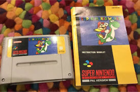 Super Mario World for Snes with manual