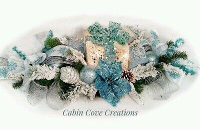 Christmas Floral Arrangement Centerpiece Prelit Blue White Snow Flocked CUSTOM ()