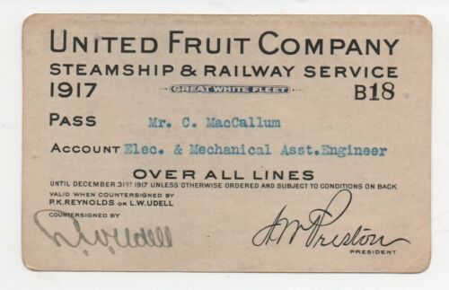 1917 United Fruit Company Steamship & Railway Pass