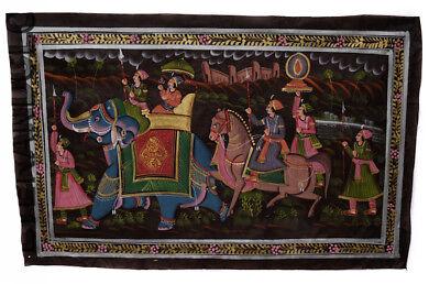 Hanging Wall Painting Mughal on Silk Art Elephant India 73x47cm 32