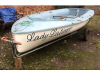 Sailing motor boat dinghy and trailer with extras
