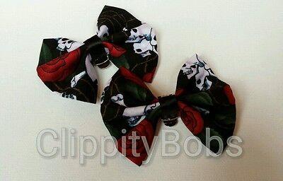 LADIES HANDMADE BLACK SKULLS BONES ROSES FABRIC SHOE BOW CLIPS ROCKABILITY PUNK