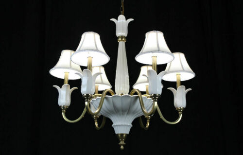 Lenox by Quoizel porcelain & brass six light / arm Chandelier 30""