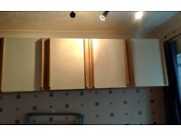 3X In Line Floating Bedroom Cupboards (Wall Hung) - White/Beech Effect