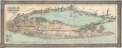Antique Panoramic Map Print - Long Island 1866 Panoramic Travellers Map of Long Island, New York Art Prints