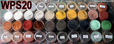 WPS20 DAVE'S DECALS WEATHERING POWDERS 20 COLOR SET ALL NATURAL EARTH  PIGMENT