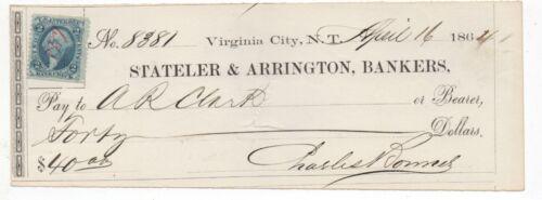 Rare 1864 Bank Check Stateler & Arrington Bankers Virginia City Nevada Territory