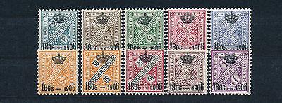 Württemberg 100 Jahre Königreich 1906** Michel 217-226 geprüft (S14185)
