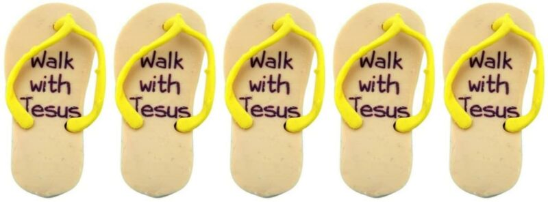 Mini Walk With Jesus Flip Flop Eraser Perfect Gift For School Teacher, Pack Of 5