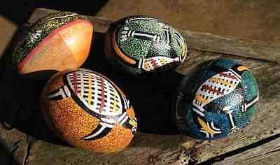 1 Egg Shaker Schüttel Ei Rassel aus Holz mit Aborigines Australien Malerei