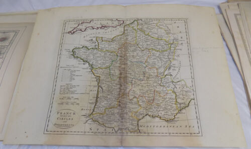 1796 Antique COLOR Map///FRANCE, DIVIDED INTO CIRCLES AND DEPARTMENTS