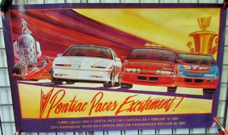 1989 Pontiac Dealer Poster Trans Am Indy 500 & Grand Prix Daytona Pace Car Petty