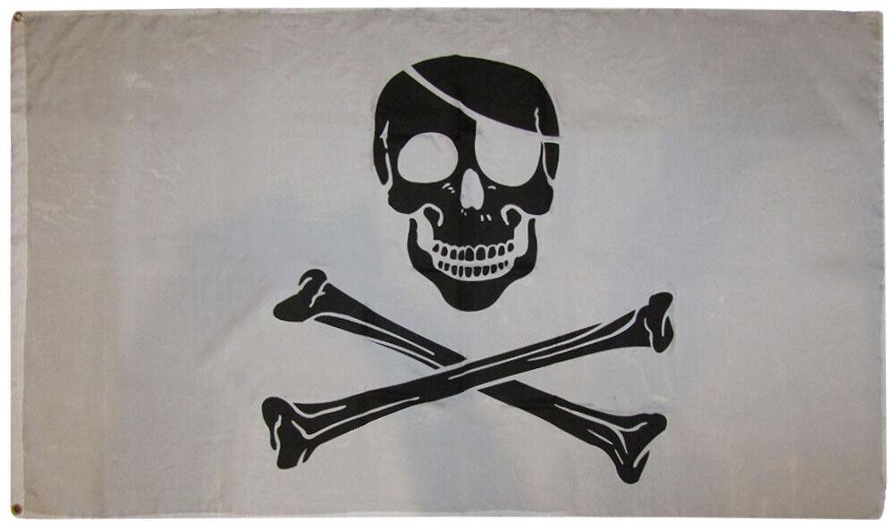 3x5 Pirate Black and White Patch FLAG 5' x 3' Skull Skeleton