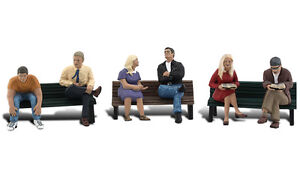 N-Scale-A2206-People-On-Benches-Set-of-Six-Three-Benches-Woodland-Scenics-New