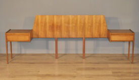 Attractive Pair Of 2 Vintage Retro Teak Bedside Cabinets On King Size Headboard
