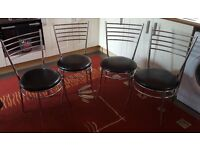 4 x Chrome & Black Bistro Style Kitchen or Dinning Chairs
