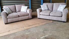 2 X 2 Seater Fabric Sofas - Mink.