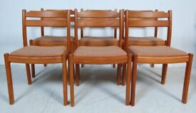 FREE DELIVERY Vintage Mid Century 1960s A Set of 6 Teak Danish Dining Chairs by Dyrlund