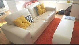 Real italian leather white sofa