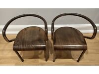 2 vintage mid-century industrial wooden and metal children's chairs