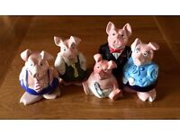 Nat West Pigs (Family of Five with Original Nat West Stoppers)
