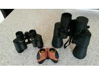 3 pairs of binoculars, Optus, Lieberman and Gortz & Halina ultra compact.