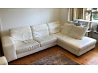 White Leather 4 seat corner and 2 seat sofa - £200 collection only
