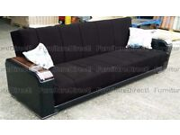 BRAND NEW- High End Fabric Sofabed with Galvanised Wooden Arms with Storage - SAME DAY DELIVERY!