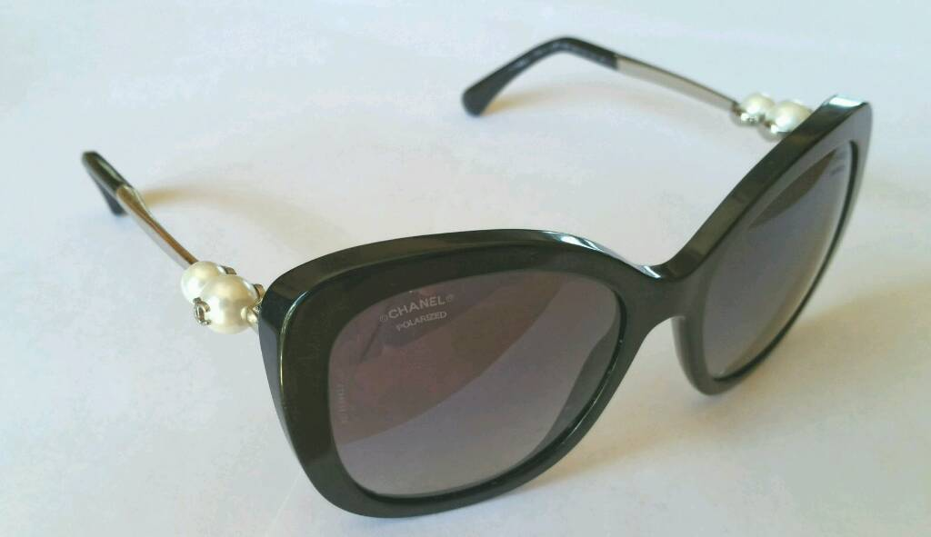cf200cd83 CHANEL Butterfly Pearl Polarized Sunglasses 5338-H Black | in ...