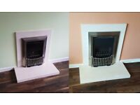 Flavel Orhestra Balanced Flue Gas Fires with Hearth Stones and Surrounds - £800 for both / £450 each