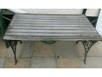 REDUCED!!!! - VINTAGE WROUGHT IRON & WOOD TABLE