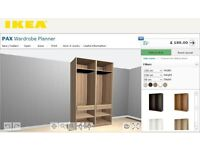KEA PAX WARDROBES white stained OAK ,(2x75)x236x58cm.NO DOORS, UNUSED parts