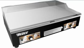Commercial 73cm Large Grill Griddle Hotplate with 2 normal Plugs