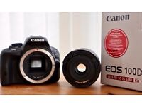Canon 100D with the Image Stabilised Lens (18-55mm STM) and extra third party battery and charger