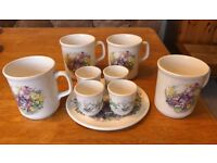 Breakfast Melamine Set with Pottery Cups and Saucers - Ideal for Camping / Caravan