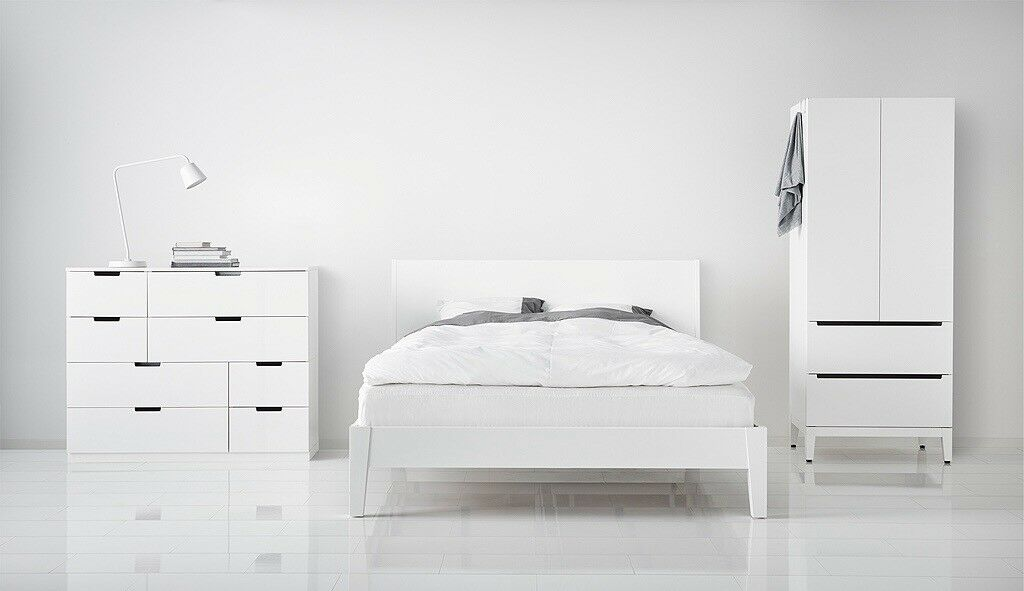 IKEA white double bed frame and mattress 145x212 cm