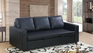 Black Leather Sofa Bed (BD-1715)