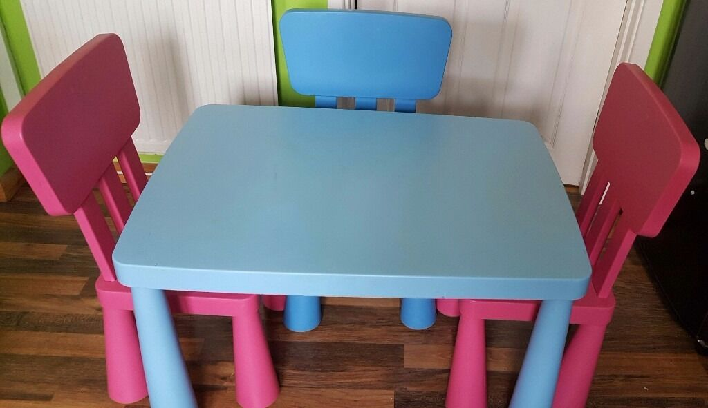 childrens ikea mammut table chair set blue table 2 x pink chairs blue chair in caerphilly. Black Bedroom Furniture Sets. Home Design Ideas