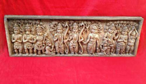 Vintage Hindu God Ram Sita Hanuman Wall Panel Wooden Temple Statue Sculpture Old