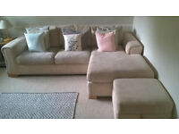 DFS Cream Corner Sofa with Foot Stool Storage