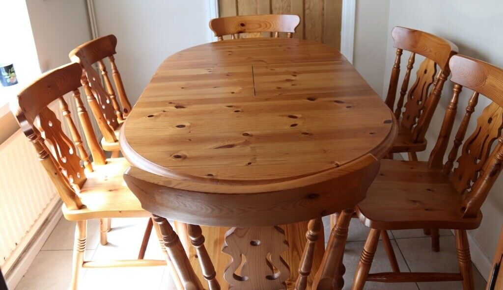 Solid pine, cottage style, extending dining table with 6 ...