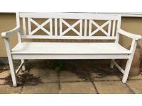White hardwood garden bench
