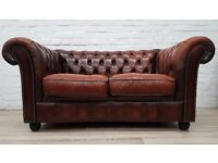 Tan Leather Chesterfield Sofa (DELIVERY AVAILABLE)