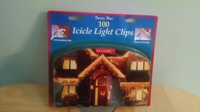 100 Icicle Light Clips For Shingle and Gutter Use,  Santa's