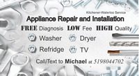 Free estimate!!! Low fee!!! Appliance repair and installation