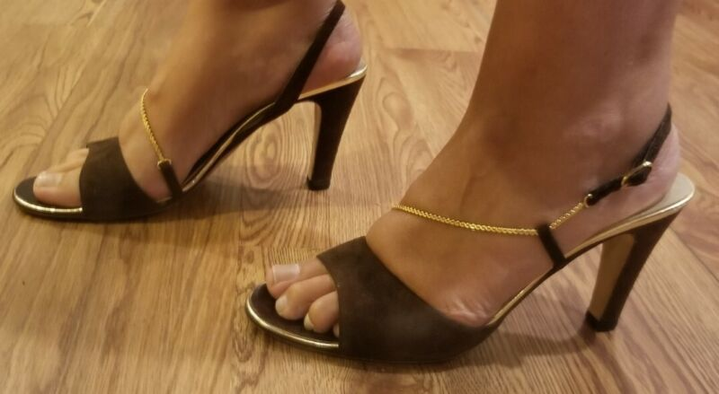 Vintage 1970s Bruno Magli for Joseph Heels Brown Suede Leather Gold Chain Sandal