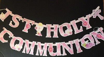 1st holy communion banners pink  /  girls letter banner cardboard ](Communion Banners)
